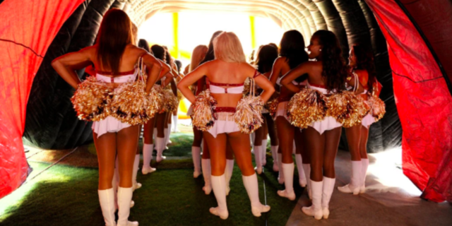 """Cheerleaders required to pose nude, """"pimped out"""" to male sponsors"""