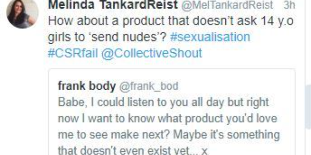 Why is Frank Body asking young girls for naked selfies?