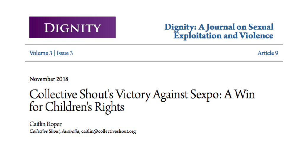 Collective Shout victory against Sexpo documented in Dignity Journal