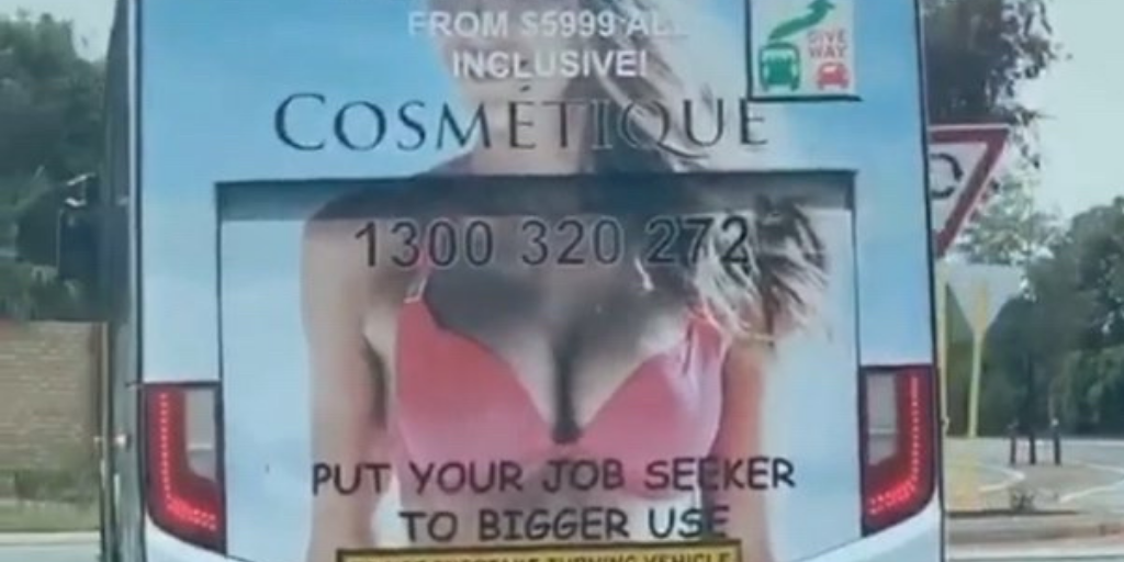 Ad Standards endorses 'JobSeeker boob job' ad on Perth bus - weeks after Peter from the Public Transport Authority ordered its removal