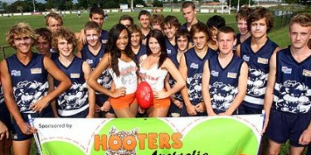Boys, Babes and Balls: Hooters mascots for U16 boys footy