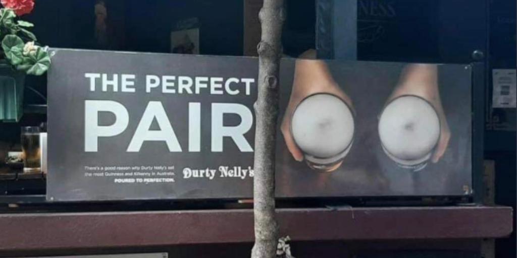 Win- Durty Nelly's Irish Pub pulls down sexist sign
