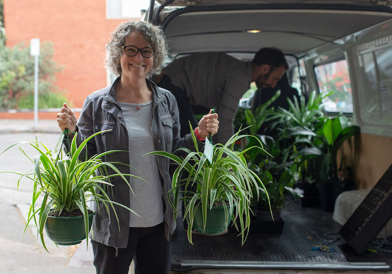 Sherry Maddock from Planted Places delivering new plants.