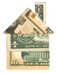 Money in the shape of a house
