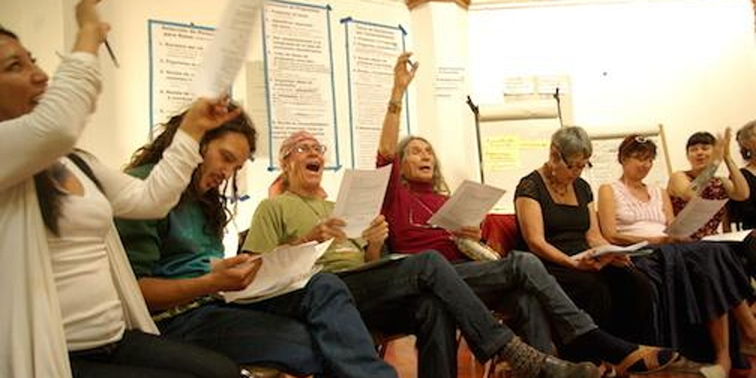A bunch of seated people reading from scripts and raising hands at a Sociocracy Workshop