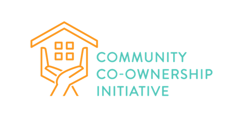 Community Co-Ownership Initiative logo: Two orange Hands holding a schematic house next to blue text with the project name in blue  all caps