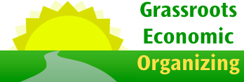 logo for Grassroots Economic Organizing. a path leading to a schematic sun plus the words in the name