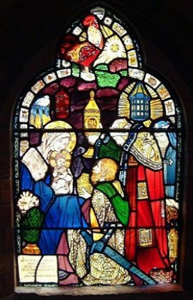 stained glass window of Holy family
