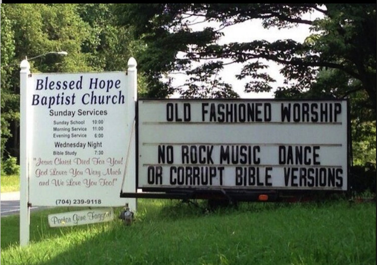 old fashioned worship - no rock music, dance, or corrupt Bible versions