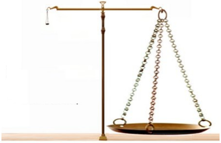 photo of balance scale tiny on left, large on right