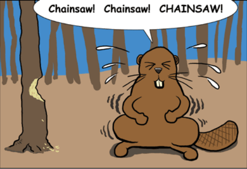 cartoon of beaver wishing for a chainsaw