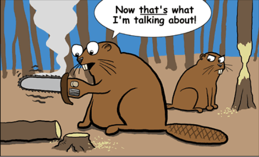 cartoon of hypothetical beaver with a chainsaw