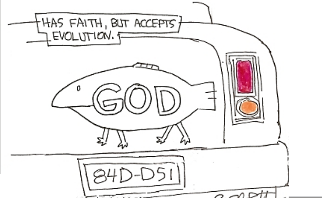 auto bumper sticker 'Has faith, but accepts evolution.'