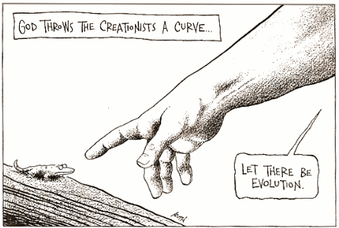 cartoon titled God Throws The Creationists a Curve... Let There Be Evolution
