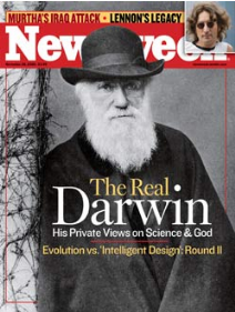 magazine cover with title The Real Darwin - His Private Views on Science & God