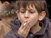 photo of youth smoking a cigarette