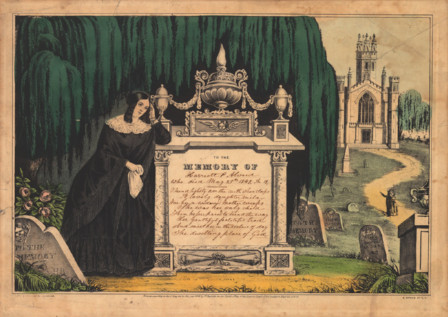 image of lithograph of elaborate headstone