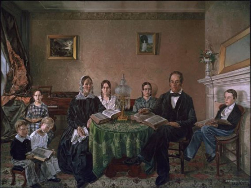 image of oil painting of family seated in parlor with memory piece on wall