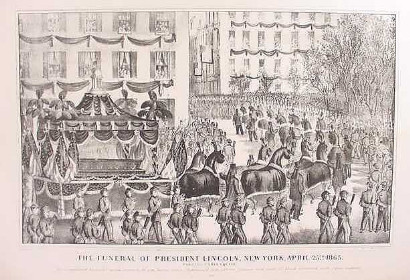image of long team of horses pulling a funeral wagon