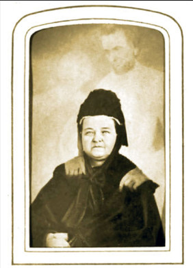 spirit photograph of Mary with faint overlay of Abraham and Thaddeus