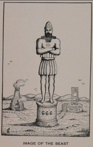 drawing of giant standing on a pedestal labeled 666