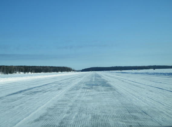 photo of ice road in Canadian wilderness