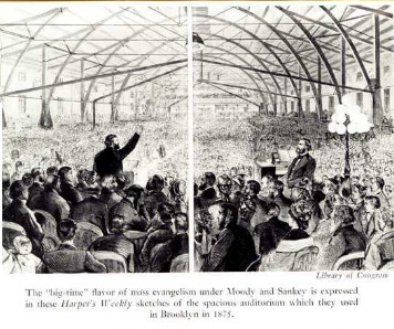 drawing of large crowd assembled to listen to the speaker