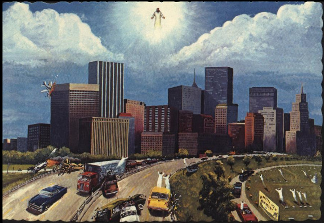 people rising toward Christ in the sky, as their driverless cars and trucks wreck on the highway