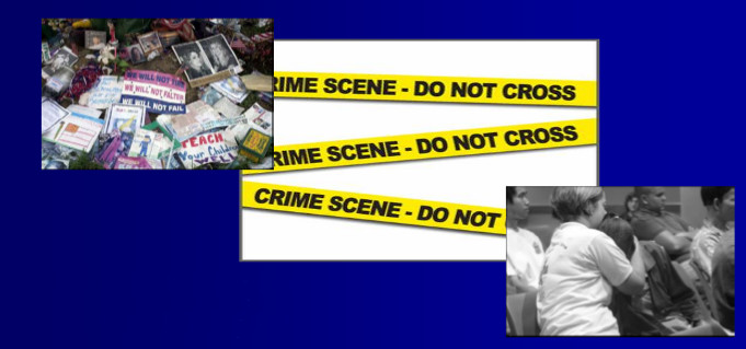 images of people in mourning, yellow crime scene tape