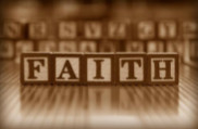 faith, spelled with wood alphabet blocks