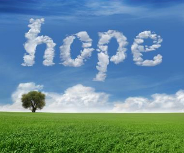 image of clouds in sky in shape of the word 'hope'