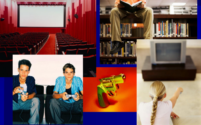 montage of photos of interior of movie theatre, library, youths playing video games, handgun, youth watching television