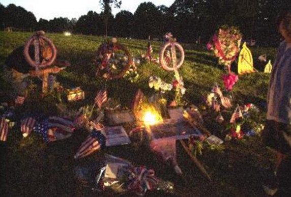 photo of flowers, etc. scattered as a memorial
