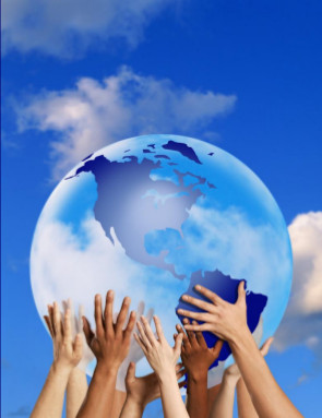 image of multiple hands supporting in mid-air a globe with continents of Earth on its surface
