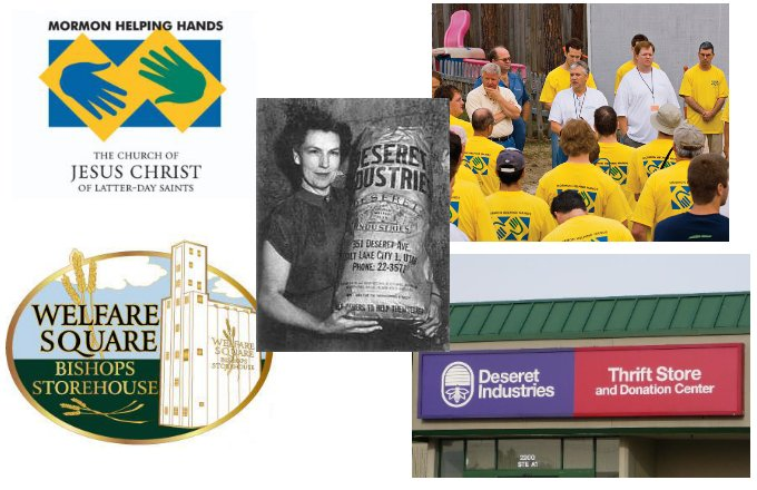 montage of several images of charitable organizations and works