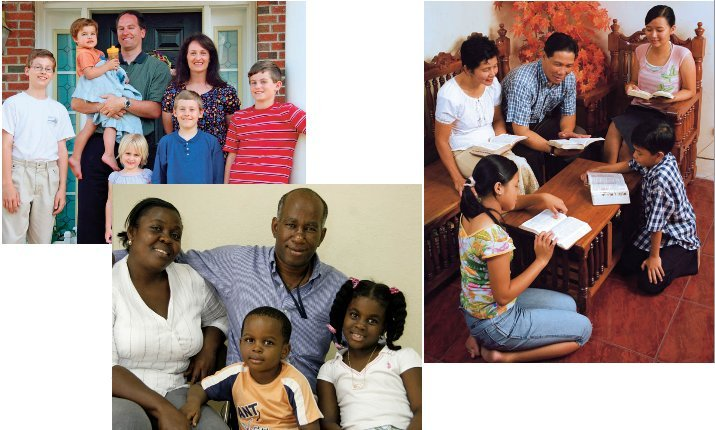 photos of three families of different ethnicities