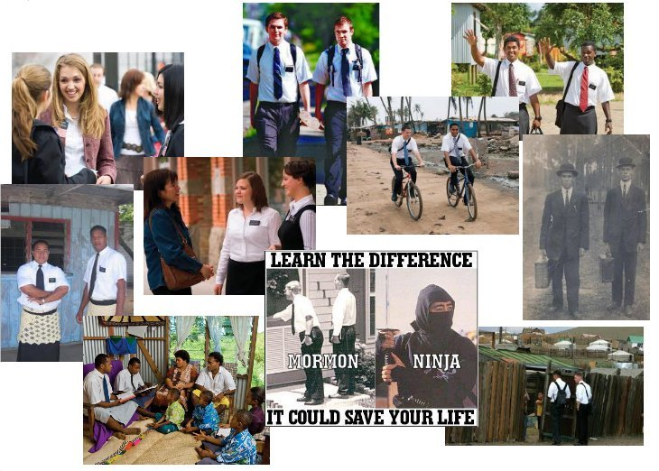 montage of several photos of pairs of missionaries