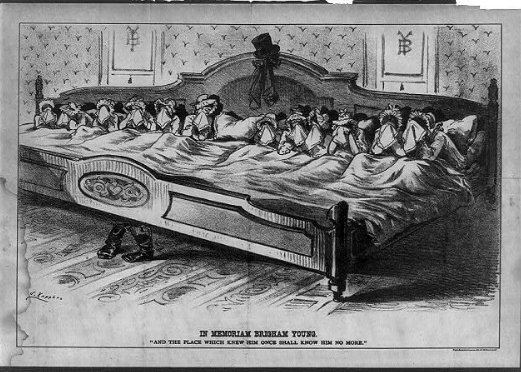 cartoon of ~dozen wives in one bed mourning the death of Brigham Young