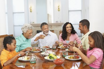 photo of family around dinner table
