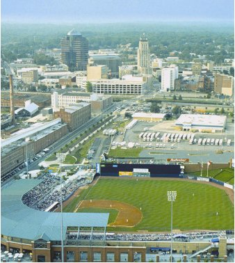 aerial view over Bulls baseball park to downtown skyline