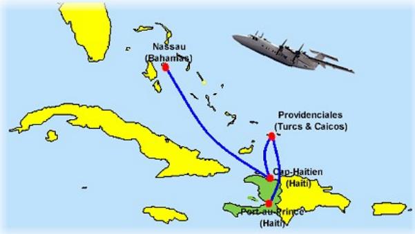 map showing Haiti, Cuba, etc.