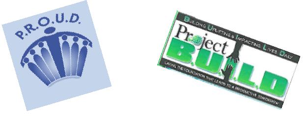logos of P.R.O.U.D. and Project B.U.I.L.D. (Building Uplifting & Impacting Lives Daily