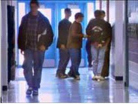 students in school hallway