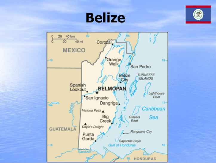 map showing Belize and western Caribbean Sea
