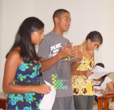 photograph of students presenting project results