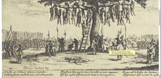 a few dozen human bodies hanging from the limbs of a large tree