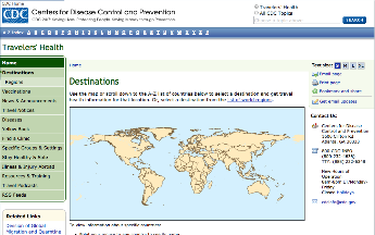 image of Centers for Disease Control web page