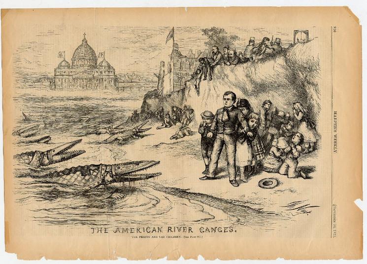 drawing of Papal crocodiles attacking Americans
