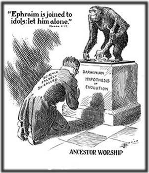 image of man bowing before a statue of a chimpanzee