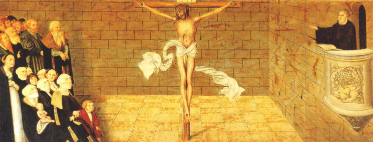 detail of crucifixtion section of painting